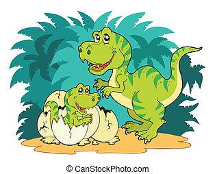 Tyrannosaurus rex family - vector illustration