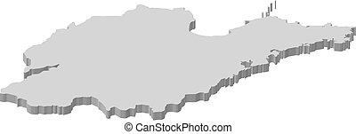 Map - Shandong (China) - 3D-Illustration - Map of Shandong,...
