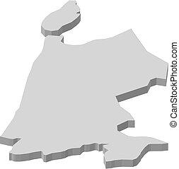 Map - North Holland (Netherlands) - 3D-Illustration