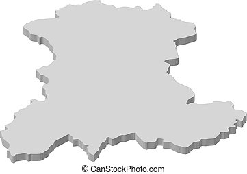 Map - Auvergne (France) - 3D-Illustration - Map of Auvergne,...