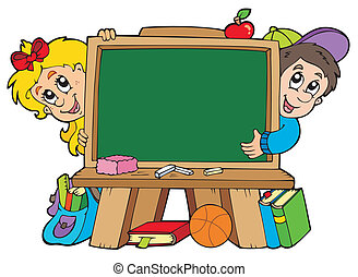 School chalkboard with two kids - vector illustration.