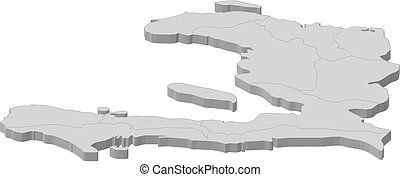 Map - Haiti - 3D-Illustration - Map of Haiti as a gray piece...