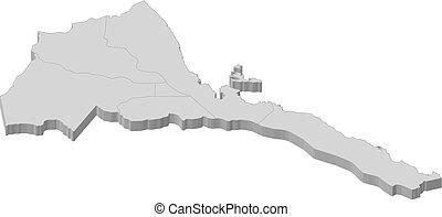 Map - Eritrea - 3D-Illustration - Map of Eritrea as a gray...
