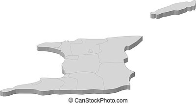 Map - Trinidad and Tobago - 3D-Illustration - Map of...