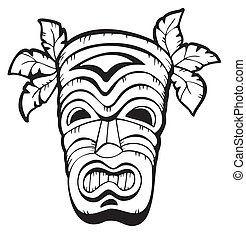 de madera, hawaiano, máscara