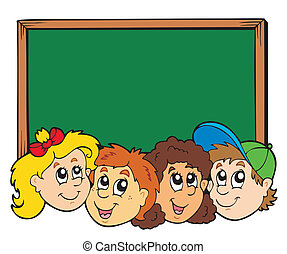 Various kids faces with blackboard - vector illustration