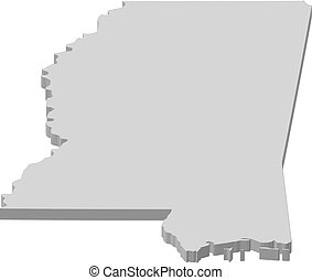 Map - Mississippi (United States) - 3D-Illustration