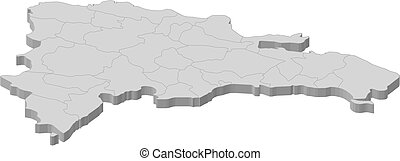 Map - Dominican Republic - 3D-Illustration - Map of...