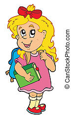 School girl with green book - vector illustration.