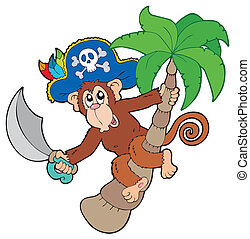 Pirate monkey with palm tree - vector illustration