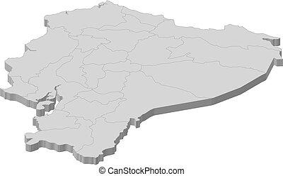 Map - Ecuador - 3D-Illustration - Map of Ecuador as a gray...