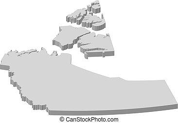 Map - Northwest Territories (Canada) - 3D-Illustration