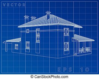 Architectural background with a 3D building model. Vector...