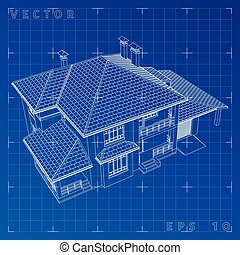 Abstract 3D render of building wireframe - Vector...