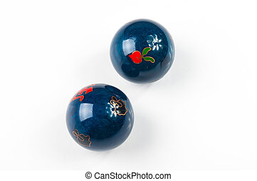 pair of blue Chinese balls Baoding - pair of blue Chinese...