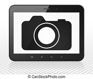 Vacation concept: Tablet Pc Computer with Photo Camera on...
