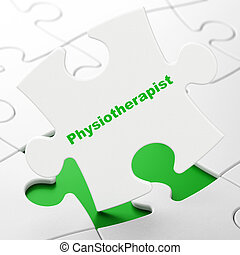 Healthcare concept: Physiotherapist on puzzle background -...