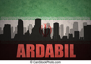 abstract silhouette of the city with text Ardabil at the vintage iranian flag background