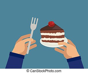 Hands with piece of cake and fork - Hands holding piece of...