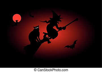 witch, hag, harridan, - Witch on a broomstick, witch, hag,...