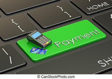 Payment concept on keyboard, 3D rendering