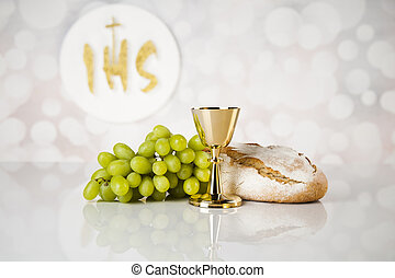 Holy communion for christianity religion, elements on white...