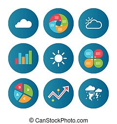 Weather icons Cloud and sun Storm symbol - Business pie...