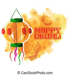 Hanging kandil on happy Diwali Holiday background for light festival of India