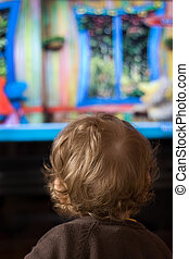 Child and TV - A little child in front of TV screen