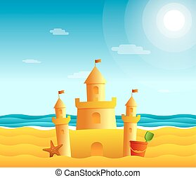 Sand castle on the beach. Seascape illustration