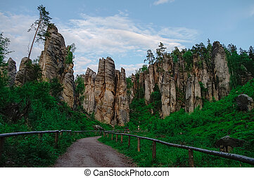 Sandstone rock formations in Bohemian Paradise (Cesky Raj), Czech Republic