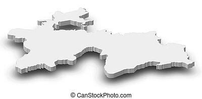 Map - Tajikistan - 3D-Illustration - Map of Tajikistan as a...