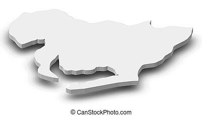Map - Aichi (Japan) - 3D-Illustration - Map of Aichi, a...