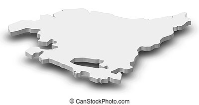 Map - Basque Country (Spain) - 3D-Illustration - Map of...