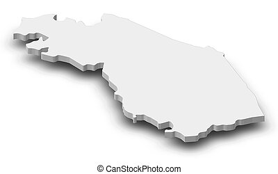 Map - Marche Italy - 3D-Illustration - Map of Marche, a...