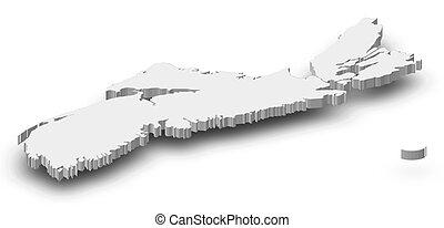 Map - Nova Scotia (Canada) - 3D-Illustration - Map of Nova...