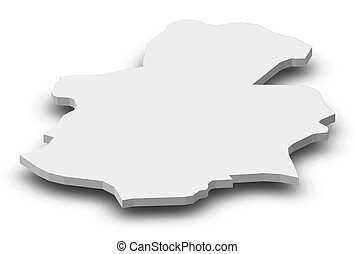 Map - Luxembourg (Luxembourg) - 3D-Illustration - Map of...