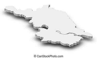 Map - Jiangsu (China) - 3D-Illustration - Map of Jiangsu, a...