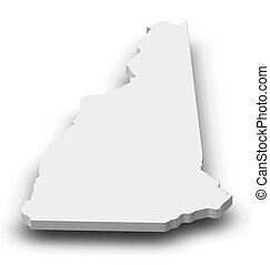Map - New Hampshire (United States) - 3D-Illustration - Map...