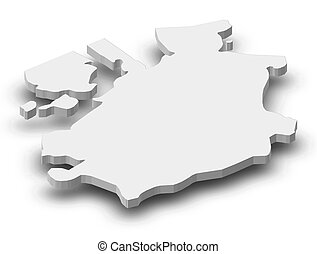 Map - Fribourg (Swizerland) - 3D-Illustration - Map of...