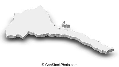 Map - Eritrea - 3D-Illustration - Map of Eritrea as a gray...