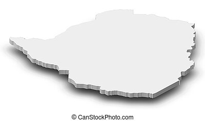 Map - Zimbabwe - 3D-Illustration - Map of Zimbabwe as a gray...