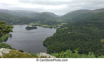 Lake mountain landscape from above - View over the Grasmere...