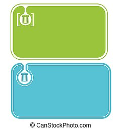 Colored business cards and trashcan symbol