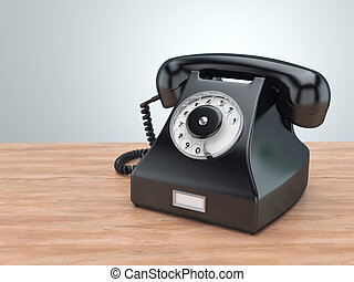 3D rendering old black phone on the table