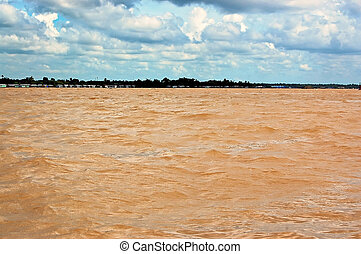 Yellow waters of Mekong Delta - Waterscape of Mekong river...