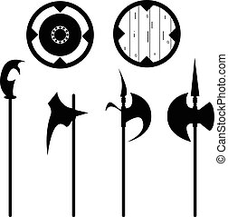 Set of historical halberd silhouettes. Illustration with...