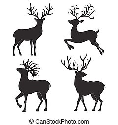 Set  of  Christmas  deer  silhouettes  on the white background.