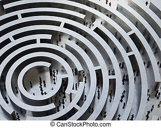 Complicated maze. 3D Rendering - People enter into a...