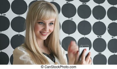Model aged 20s making selfie photo